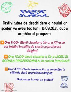 ANUNȚ – Deschiderea anului școlar 2021-2022